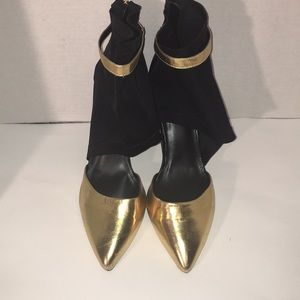 Liliana Black and Gold High Heels Size 11